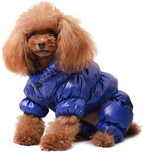 YOUDirect Winter Dog Coat Waterproof Windproof Dog Snowsuit Warm Fleece Padded Winter Pet Clothes for Chihuahua Poodles French Bulldog Pomeranian Small Dogs (XS, Blue)