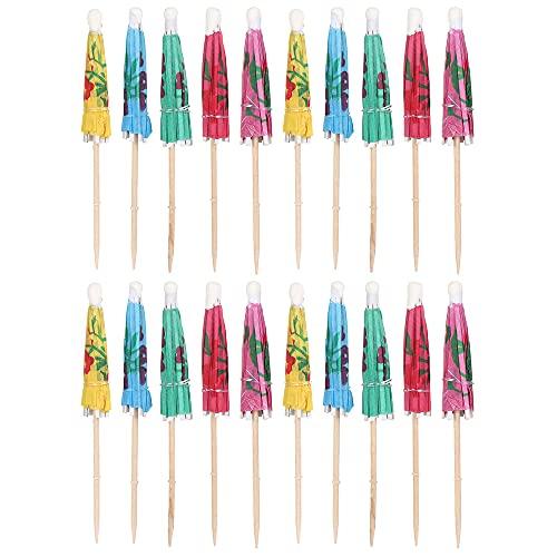 Shruj 20pcs Paraguas pequeño Color Mixto Madera Decoración de Fiesta Palillo Dental Cóctel Mini Paraguas Aperitivos sombrillas