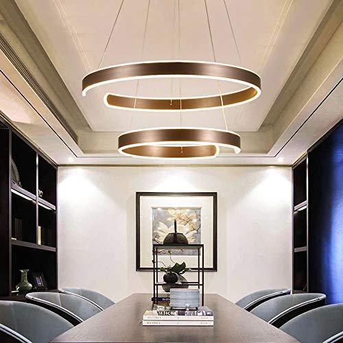 125W LED Esszimmerlampe Dimmbar Pendelleuchte mit Fernbedienung Modern 2-Ring Höhenverstellbar Pendellampe Hängeleuchte für Wohnzimmer Schlafzimmer Esstisch,Brown 40+60CM