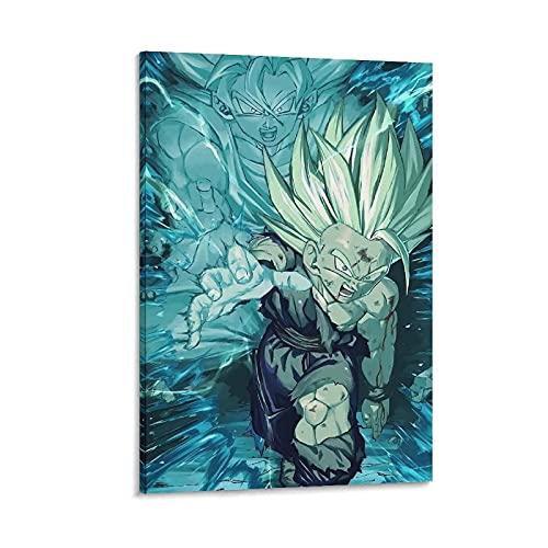 Clásico Anime Gohan Kamehameha y su hijo lienzo arte póster y arte de pared impresión de imagen moderna decoración de dormitorio familiar carteles 40x50cm