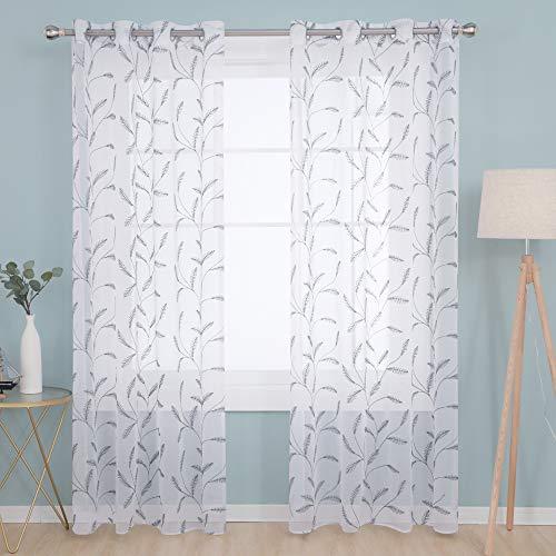 Deconovo Cortinas Visillos para Ventana Cortina Transparente con Ojales para Dormitorio y Salón 2 Piezas 140 x 290 cm Gris