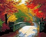 Interesante pintura por números, puente de piedra de arce rojo, kit de pintura acrílica con pinceles y pigmento artes, pintura en lienzo para niños y adultos, 40,6 x 50,8 cm