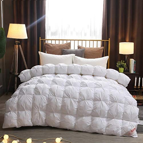 CHOU DAN Soft As Silk Duvet,Winter 95 New Down Duvet White Goose Down Twisted Flower Quilt Single Double Cotton Quilt Four Seasons Universal Spring And Autumn-180 * 220cm 3500g_white