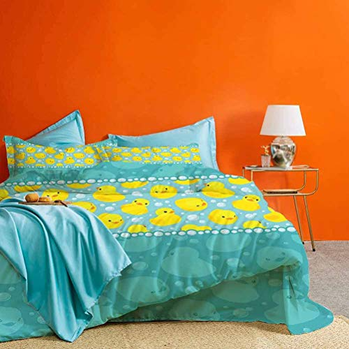 Rubber Duck Bedding Collection Yellow Cartoon Duckies Swimming in Water Pattern with Fun Bubbles Aqua Colors Best Hotel Luxury Bedding Teal Blue 3 pc (1 Duvet Cover and 2 Pillow Shams) Cal King Size