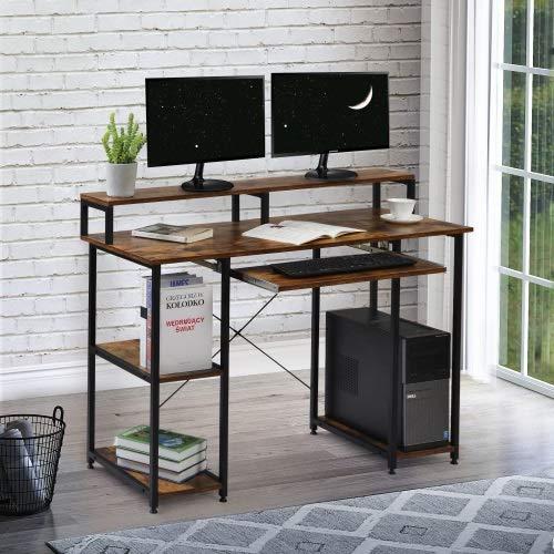 Mesas de ordenador, mesas de juegos, escritorios, espacios pequeños, mesas de ordenador portátil, estaciones de trabajo de estudio, escritorios para el hogar, mesas multifunción (color: marrón)