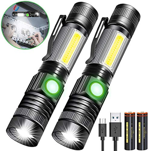 Rechargeable Flashlight, Magnetic Flashlight(with 18650 Battery), Super Bright Pocket-Sized COB Work Light T6 LED Torch with Clip, Zoomable, Water Resistant, 4 Modes for Camping Hiking 2 Pack