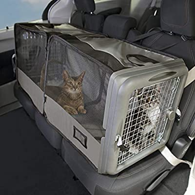 SportPet Designs Car Seat Pet Crate, Car Kennel, Pet Tube Kennel, Pop Open Crate, Gray (CM-10004-CS01)