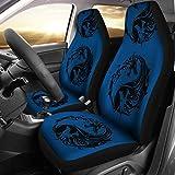 PotteLove Blue Dragon Yin Yang Car Seat Covers Pair, 2 Front Car Seat Covers, Seat Cover for Car, Car Seat Protector, Car Accessory