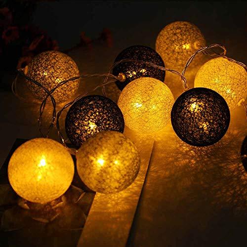 Hiser Luces De Bolas De Algodón Cadena de Luces, Bola de algodón de 6 cm Batería Lámpara de Guirnalda Luminosa Hogar, Jardín, Fiesta, Boda, Navidad Decoración (Gris Oscuro,2M-20LED)