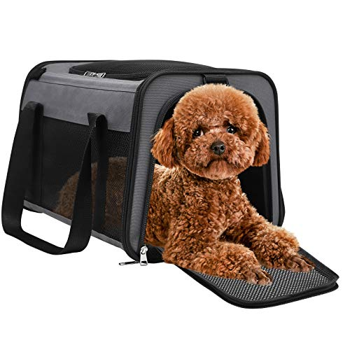 Soft Sided Cat Carrier, Airline Approved Collapsible Puppy Carrier with Locking Safety Zippers, Removable Fleece Pad and Pockets for Small Dogs Puppies Large Cat