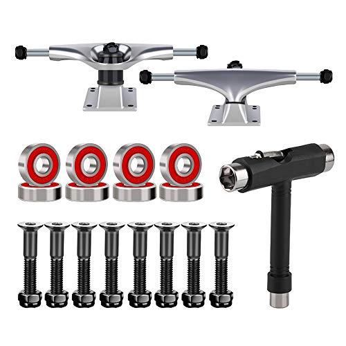 "BESIY Skateboard Trucks, Skateboard Bearings & Wheel Hardware Set with Polished Skateboard Screws 1"" and Practical Wrench"