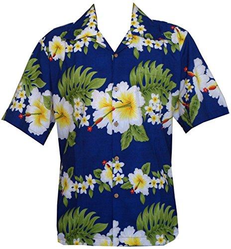 Camisa hawaiana para hombre con estampado de flores de hibisco para playa, fiesta, aloha campamento hawaiano para hombre - Azul - Medium