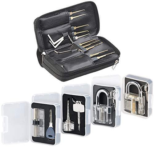 AGT Dietrich Set Profi: Profi-Lockpicking-Set mit 32 Werkzeugen und 4 Übungsschlössern (Schloss Knacken)