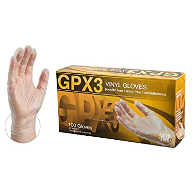 AMMEX GPX3 Industrial Clear Vinyl Gloves, Box of 100, 3 mil, Size Large, Latex Free, Powder Free, Food Safe, Disposable, Non-Sterile, GPX346100-BX