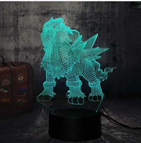 Iluminación Luz Lectura Lampara De Mesa Luz De Lectura Juego Pokemon Go Entei Three Sacred Christmas Gift 3D Led Kawaii Night Light 7 Color Lámpara De Escritorio Creativa