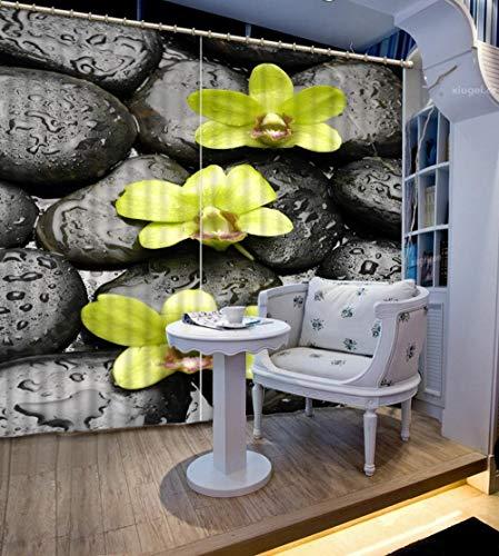 3D Verdunkelungsvorhänge- Gelbe Blume und Zenstein -Wärmedämmender Vorhang aus 100{1acfb76b23baaef5563af6ed737d0694d351b95d020ce0615d34e53e89798121} Polyester,Energiesparen Lärm reduzieren Behandlung für Schlafzimmer Wohnzimmer Kinderzimmer Vorhänge-150x166cm