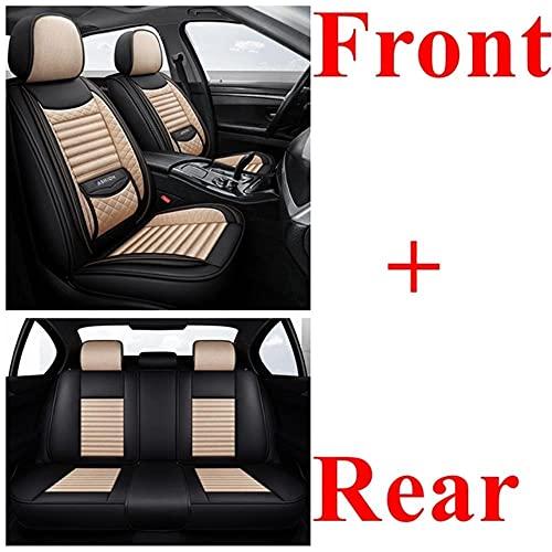 yhwjsxd Fundas Asientos Coche Universales para Renault Clio Duster Clio 4 Seat Leon Ibiza Mitsubishi Lancer X Pajero Outlander Lancer Subaru Forester Accesorios Coche, Negro Beige estándar