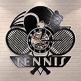 Horloge murale en vinyle avec LED 7 couleurs - Gravure du logo de tennis - Raquette de tennis - Décoration de tournoi - Cadeau idéal pour les joueurs de tennis - 30,5 cm