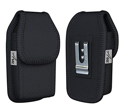 Agoz Carrying Case For Kyocera DuraForce Ultra 5G UW, DuraForce XD E6790, Rugged Canvas Vertical Holster Pouch Cover Metal Clip Belt Loops (NOT for DuraForce E6560 E6762, DuraForce PRO or FLIP phones)