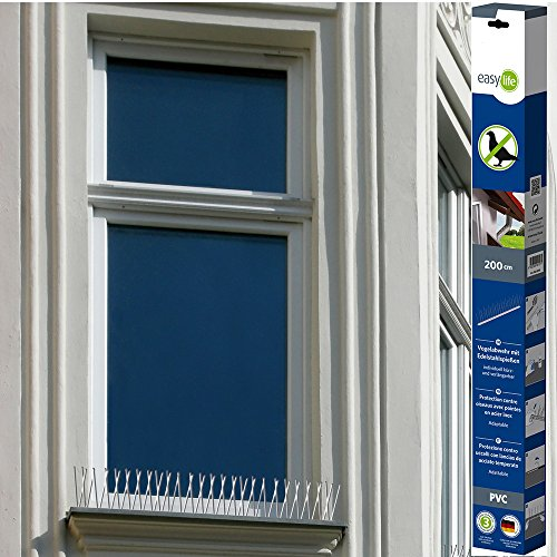 EASY LIFE Pinces Anti-Pigeons en PVC 200 cm-60 Pics en Acier Inoable-Puces Répulsifs pour Oiseaux, Blanc, Normal