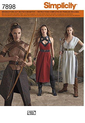7898 Kostüm für Damen, Kriegerin, Amazone, Simplicity, R5 (40 - 48)