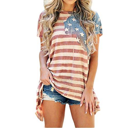 Lisli Damen T Shirt USA Größe Tops Amerikanische Flagge Druck Rundhals Kurzarmshirt Große Übergröße Oversize Tunika