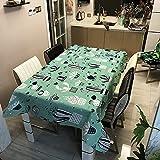 Mantel con diseño de Cactus, Mantel Rectangular Impermeable, Adecuado para Cocina, Mesa de café para Sala de Estar, Picnic M-5 140x210cm