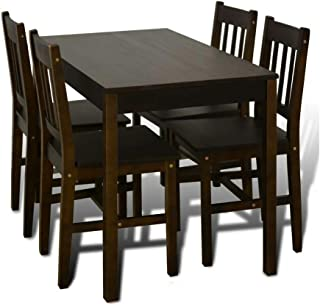 Thaweesuk Shop Dark Brown Wooden Dining Table Set with 4 Chairs Kitchen Dining Room Home Furniture Material: Pine Wood Overall Size: 42.5