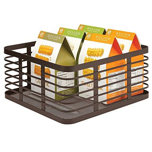 mDesign Caja multiusos de metal – Práctico organizador de cocina y del hogar – Cesta de almacenaje de alambre, compacta y universal – color bronce