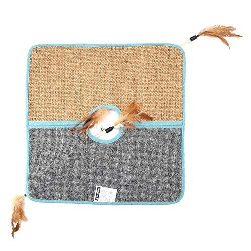 PULLEY Alfombrilla para rascar gatos, alfombrilla de sisal para rascar, alfombrilla para rascar gatos, alfombrilla de sisal con pluma divertida (45,5 x 45,5 cm)