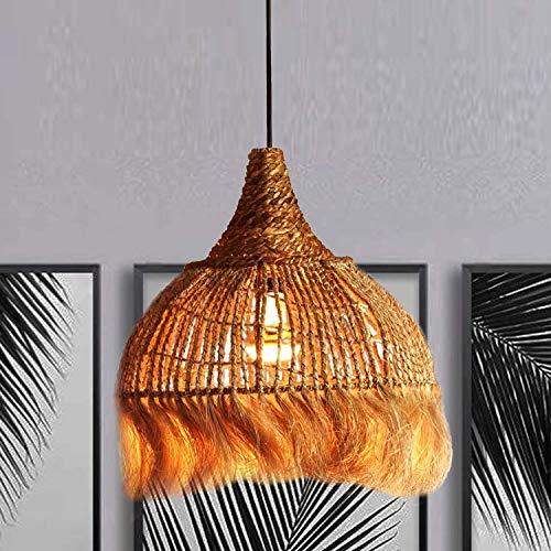 Casa Moro Lámpara de techo oriental Bali de 36 cm de diámetro, de fibra de abaca, trenzada a mano con cable, altura de hasta 178 cm, casquillo E27 y dosel, lámpara mediterránea | INDL2030