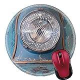Runder Mauspad Naturkautschuk Mousepads Vintage Motorrad Scheinwerfer