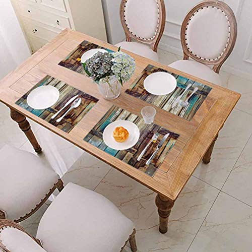 Placemats Washable Dining Table Place Mats, Rustic Aged Shed Door Backdrop with Color Details Country Living Exterior Pastoral Ma, Placemats for Dining Table Washable, Set of 4