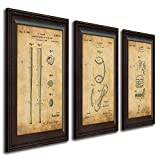 Personal Prints 3 pc Framed Modern Patent Set - Baseball 14'x17'