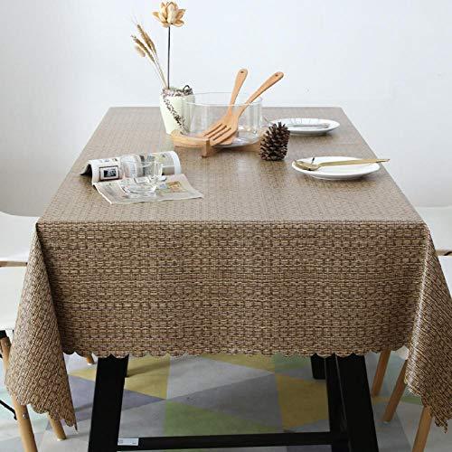 Moda Mantel plastificado rectangular plastificado mantel de mesa rectangular impermeable de PVC antiaceite antipolvo fácil de limpiar