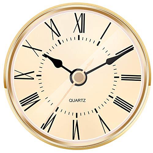 Hicarer 2.8 Inch (70 mm) Gold Quartz Clock Insert with Roman Numeral and Quartz Movement
