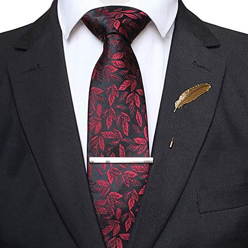 YTGUEVKDH Silk Ties Compatible with Men Formal 8cm Leaves Jacquard Necktie Pin Set Wedding Party Business Gravata Gift (Color : 05)