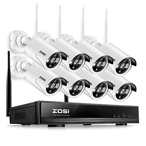 ZOSI 8CH 960P HD Tag Nacht Funk Überwachungskamera Set ohne Festplatte CCTV Wireless Outdoor IP Netzwerk Video Überwachungsstem, PC/Mac-Kompatibel