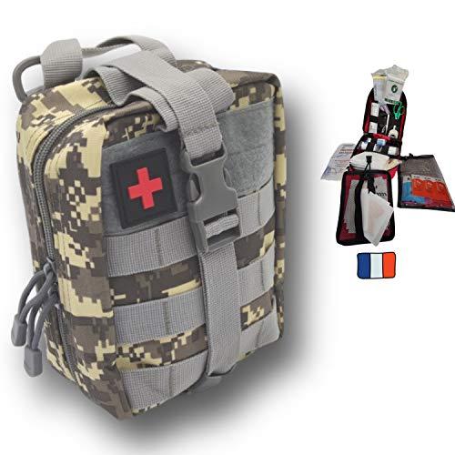 Trousse d'urgence Molle tactique grise, compacte, 103 unités, fabriquée en France avec couverture de survie. Conçu pour la maison, la randonnée, le travail, la voiture, la chasse et le sport