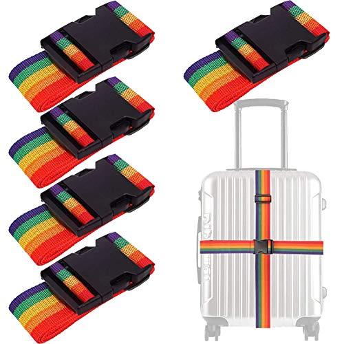 Bagageriemen - YUESEN 5-pack verstelbare bagageriemen bagageriemen, kofferriemen voor reisbeveiliging, handtassen, bagage, bakken, aktetassen, karren, bagage op wielen enz.