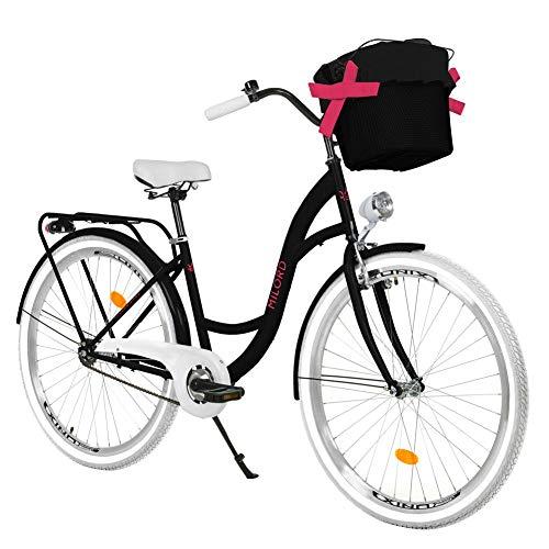 Milord. 28 Zoll 3-Gang Schwarz-Weiß Komfort Fahrrad mit Korb Hollandrad Damenfahrrad Citybike Cityrad Retro Vintage