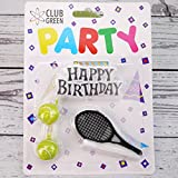 """Club Green, Kit Candele: Scritta """"Happy Birthday"""", 2 Palline da Tennis Color Giallo, 1 Racchetta"""