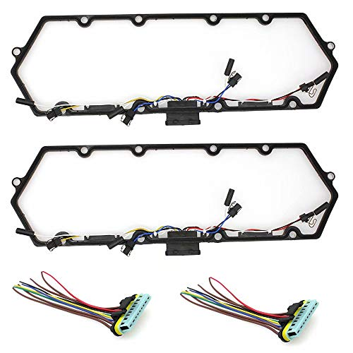 Paddsun Diesel Valve Cover Gasket with Injector &Glow Plug Harness for Ford 7.3L V8 Fast