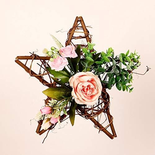 Hengqiyuan Wieniec na drzwi na wiosnę, ręcznie wykonany wieniec 30 cm, wianek na drzwi do użytku na zewnątrz, wieniec do domu, sztuczny pięcioramienny wieniec gwiazdowy róża, E