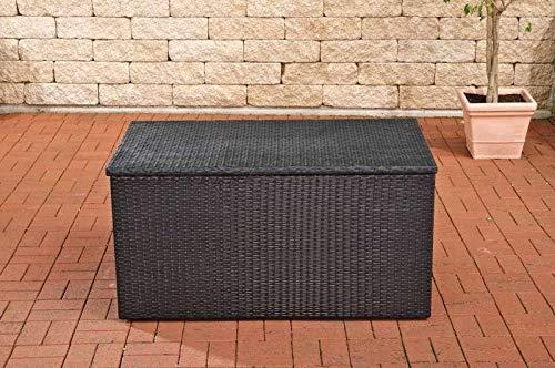 CLP Polyrattan-Aufbewahrungsbox I Gartentruhe für Kissen und Auflagen I Größen erhältlich, Farbe:schwarz, Größe:L