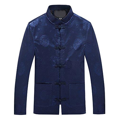 KINDOYO Herbst und Winter Tang Anzug Plus Samtjacke Mantel, Kampfkunst Tai Chi Kung Fu Uniform, Verwendung für chinesische Hochzeitskleidung (Blau)