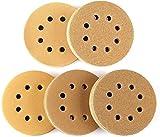 Suny Smiling - Dischi abrasivi dorati a 8 fori, con gancio e anello senza polvere, 100 pezzi, per la finitura del legno o dell'automobile