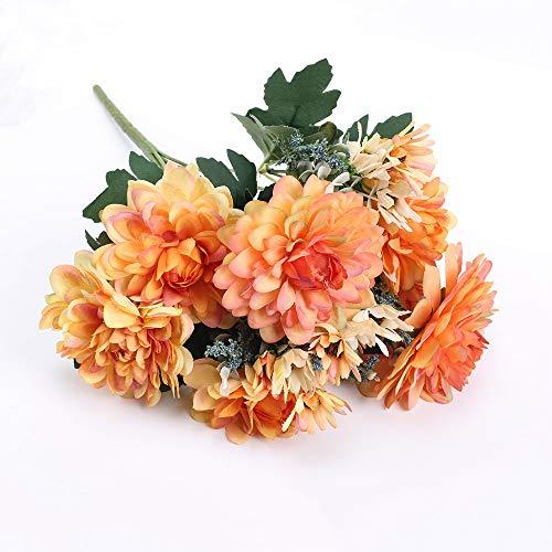 HUAESIN 10 Köpfe Künstliche Blumen Chrysantheme Autumn Kunstblumen Groß Seidenblumen Herbst Deko Plastikblumen für Terrarium Vase Hochzeit Halloween Balkon Garten Orange
