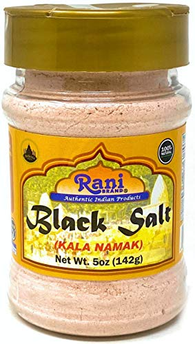 Rani Black Salt (Kala Namak Mineral) Powder, Vegan 5oz (142g) Unrefined, Pure and Natural | Gluten Free Ingredients | NON-GMO | Indian Origin | Perfect for Tofu Scramble - Natural Egg Taste
