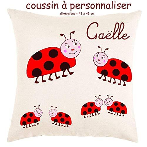 Coussin avec sa Housse Toucher très Doux Coccinelle Personnalisable avec un Prénom Exemple Gaelle